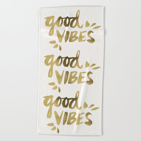 Good Vibes – Gold Ink Beach Towel