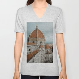 The Duomo Santa Maria del Fiore in Florence, Italy | Church cathedral in Firenze, Tuscany | Photogra Unisex V-Neck