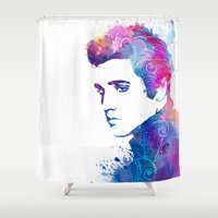 elvis presley Shower Curtains featuring Elvis Presley by WatercolorGirlArt