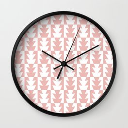 Art Deco Jagged Edge Pattern Dusty Rose Wall Clock