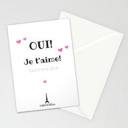 Oui je t'aime (Yes I love you) Stationery Cards