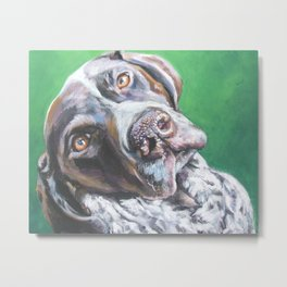 GSP German Shorthaired Pointer dog portrait art from an original painting by L.A.Shepard Metal Print