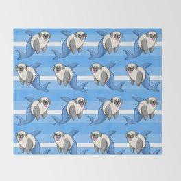 Sharky Pug Throw Blanket