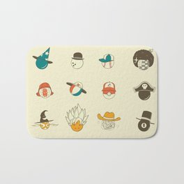 Weird balls with weird hats Bath Mat