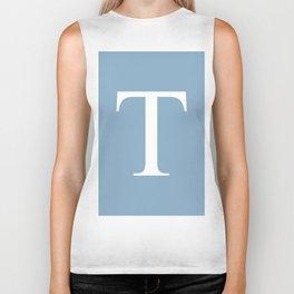 Letter T sign on placid blue background Biker Tank