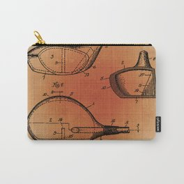 Golf Club Patent Blueprint Drawing Sepia Carry-All Pouch
