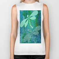 dragonfly Biker Tanks featuring Dragonfly  by Saundra Myles