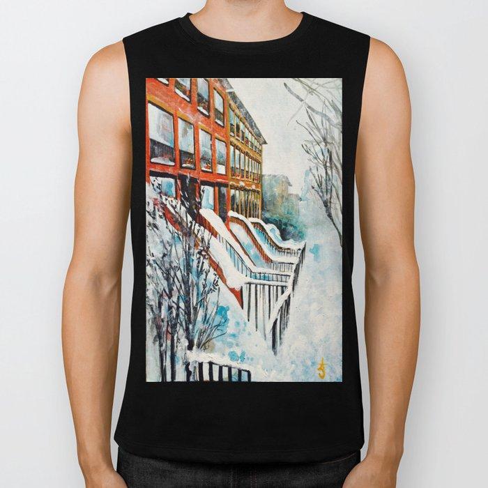 Brooklyn New York In Snow Storm Biker Tank