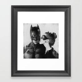 BAT AND CAT b&w Framed Art Print