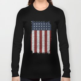USA American Flag Rustic Jute Style 4th July Decor Long Sleeve T-shirt