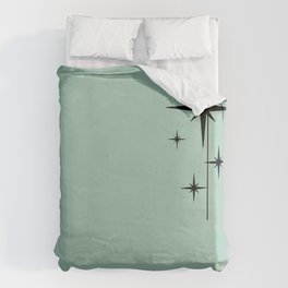 1950s Atomic Age Retro Starburst in Mint Green and Black 2 Duvet Cover