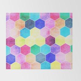 Honeycombs print, colorful hexagons Throw Blanket