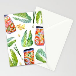 Kimchi Ingredients Spicy Fun Watercolor  Stationery Cards