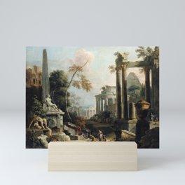 Marco Ricci and Sebastiano Ricci Landscape with Classical Ruins and Figures Mini Art Print