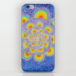 Rainbow Mandala Colorful Psychedelic Trippy Spiral Tapestry Painting Batik (Triametes Versicolor) iPhone Skin