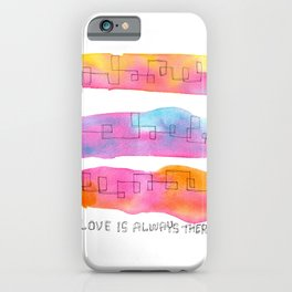 Love Is Always There line ink watercolor abstract painting minimal  iPhone Case