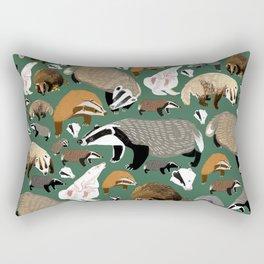 Eurasian badgers pattern Green Rectangular Pillow