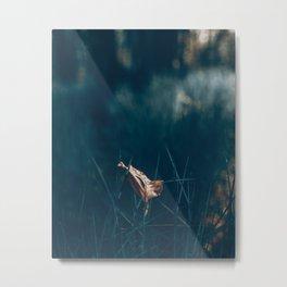 Abstract nature leaf forest grass artwork deep blue painting digital print Metal Print