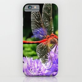 Red Dragonfly on Violet Purple Flowers iPhone Case