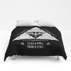 Legend of Zelda Kingdom of Hyrule Crest Letterpress Vector Art Comforters