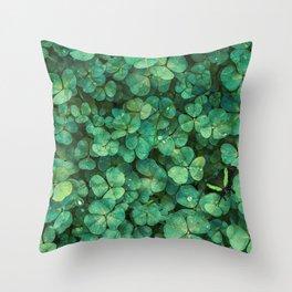 Lucky Green Clovers, St Patricks Day pattern Throw Pillow