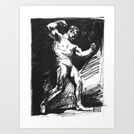 VINTAGE BODYBUILDER INK SKETCH Art Print