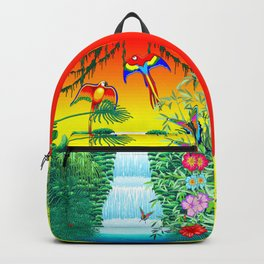 Waterfall Macaws and Butterflies on Exotic Landscape in the Jungle Naif Style Backpack