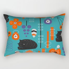 Modern birds and sleepy cats Rectangular Pillow