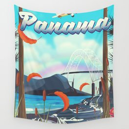 Panama flight travel poster. Wall Tapestry