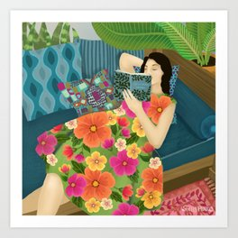 Women Who Read Are Dangerous- Woman reading plant filled room Art Print