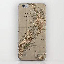 Vintage New Zealand Physical Map (1880) iPhone Skin