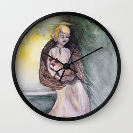 Angel with cat watercolor Wall Clock