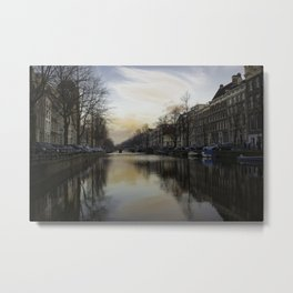 Clouds and Canals in Amsterdam Metal Print