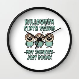 Halloween Sloth Squad Wall Clock
