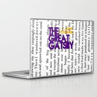 fitzgerald Laptop & iPad Skins featuring The Great Gatsby - F. Scott Fitzgerald / Book Cover Art Poster  by FunnyFaceArt