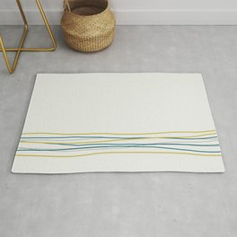 Off White, Dark Yellow and Tropical Dark Teal Inspired by Sherwin Williams 2020 Trending Color Oceanside SW6496 Scribble Lines Pattern Bottom 3 Rug