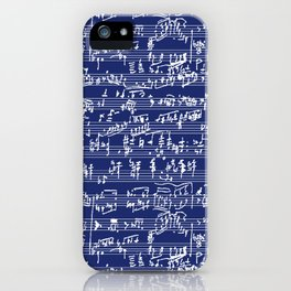 Hand Written Sheet Music // Midnight Blue iPhone Case
