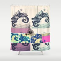 motorbike Shower Curtains featuring Painting, Illustration, Graphic Design, collage, motorbike by WhitePanther