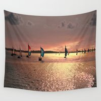 sail Wall Tapestries featuring Sunset Sail In Bermuda by Judy Palkimas