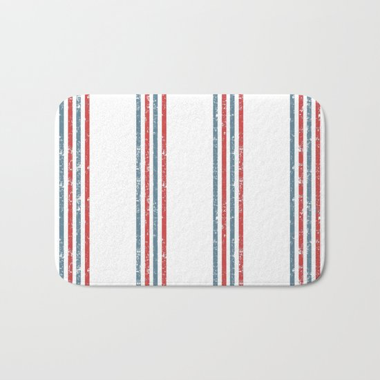 Maritime Beach Pattern- Red and Blue Stripes on White- Vertical #Society6 Bath Mat
