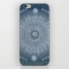 """Indigo blue & Cinder Vault Mandala(Silver stars)"" iPhone Skin"