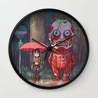 attack on titan Wall Clocks featuring My Neighbor Titan by Ron Chan