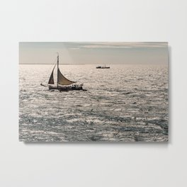 Dutch Sailboat on the North Sea close to Terschelling Metal Print