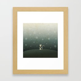 Small winged polka-dotted beige cat and stars Framed Art Print