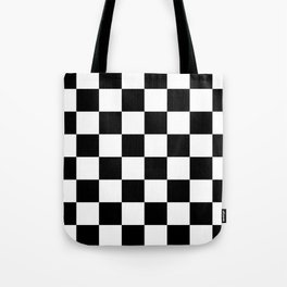 Contemporary Black & White Gingham Pattern Tote Bag