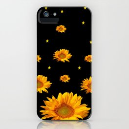 GOLDEN STARS YELLOW SUNFLOWERS  BLACK COLOR iPhone Case