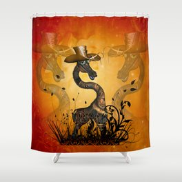 Funny steampunk giraffe with hat Shower Curtain
