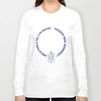 amy pond Long Sleeve T-shirts featuring Doctor Who pals: the 10th Doctor & Amy Pond (white version) by logoloco