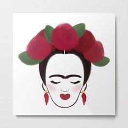 Frida Kahlo portrait art print Metal Print