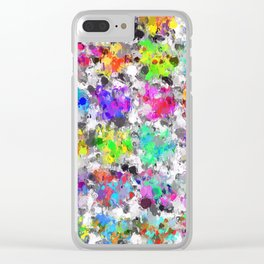 colorful psychedelic splash painting abstract texture in pink blue purple green yellow red orange Clear iPhone Case